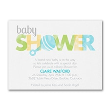 Little Boy Rattle - Baby Shower Invitation