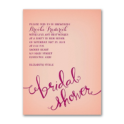 swirly words bridal shower invitation