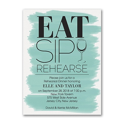 Eat Sip Rehearse - Rehearsal Dinner Invitation