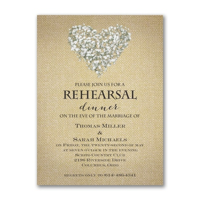 Burlap Blossoms - Rehearsal Dinner Invitation