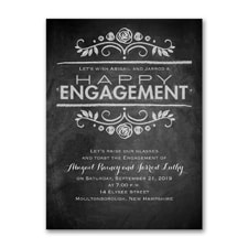 Chalkboard News - Engagement Party Invitation