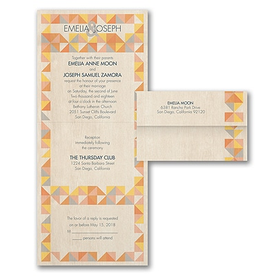 Rustic Geometric - Seal 'n Send Invitation - Marigold