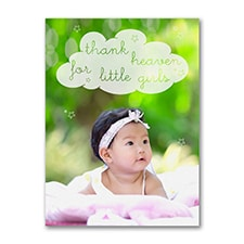 Thank Heaven - Photo Birth Announcement - Girl