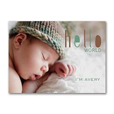 Hello World - Photo Birth Announcement