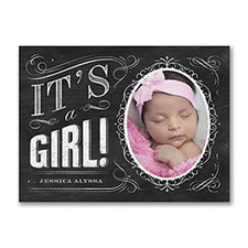 Chalkboard - Photo Birth Announcement - Girl
