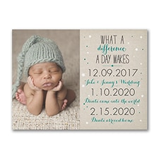 What a Difference - Photo Birth Announcement