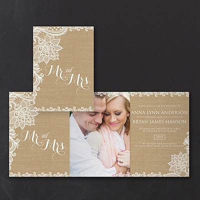 Lacy Burlap - Photo Invitation
