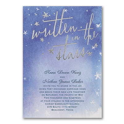 written in the stars invitation wedding invitations carlson