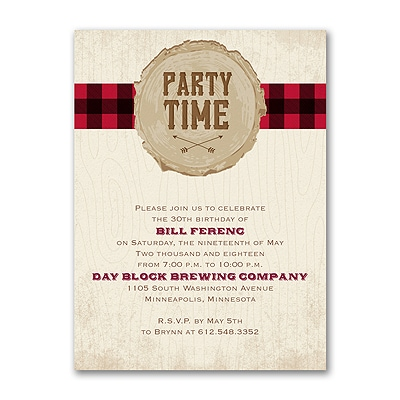 Plaid Party Time - Invitation