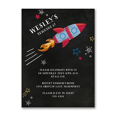 Chalkboard Rocket - Invitation