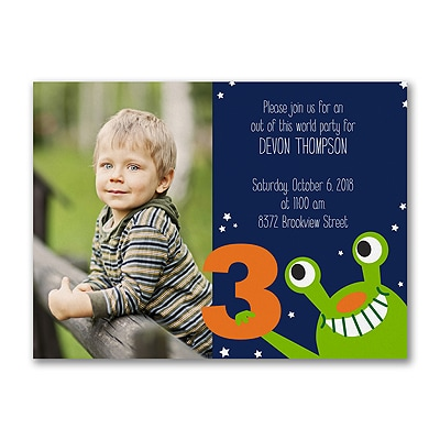 Far Out - Photo Birthday Invitation - 3 Years