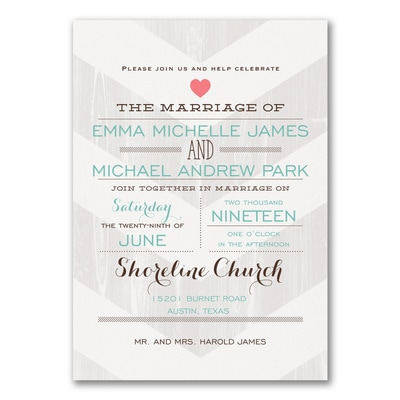 Wood Grain Chevron - Invitation