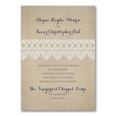 crochet and burlap invitation wedding invitations carlson