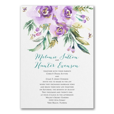watercolor beauty purple invitation wedding invitations
