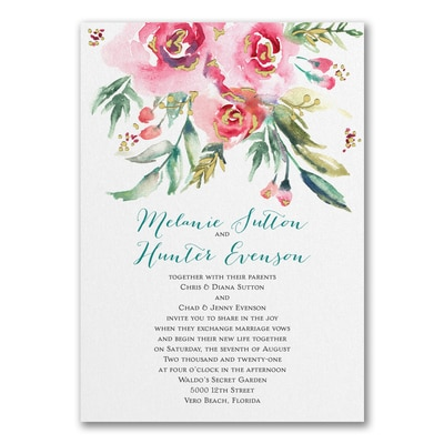 Watercolor Beauty - Pink - Invitation