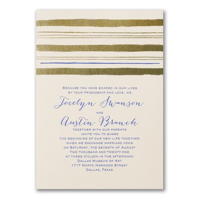 Painted Stripes - Invitation - Ecru