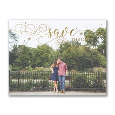 Sparkling Date - Photo Save The Date Postcard