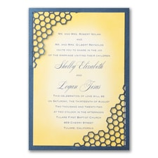 Modern wedding Invitation: Honey Happiness