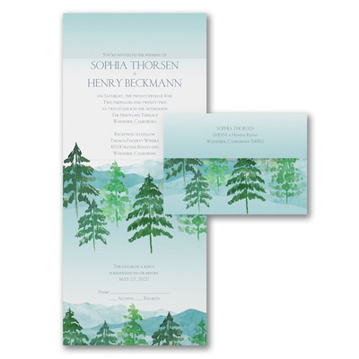 Watercolor Pines - Seal 'n Send Invitation