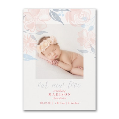 Floral Baby - Photo Birth Announcement