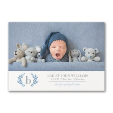Baby Monogram - Photo Birth Announcement