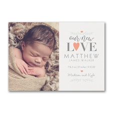 New Love - Photo Birth Announcement