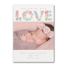 Floral Beauty - Photo Birth Announcement