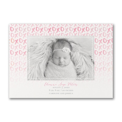 Hugs and Kisses - Photo Birth Announcement