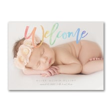 Rainbow Welcome - Photo Birth Announcement