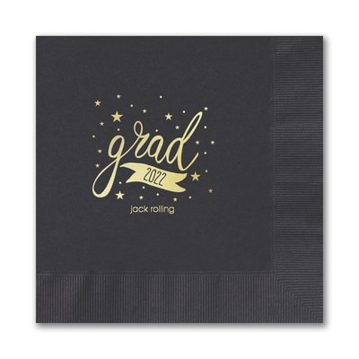Sophisticated Grad Napkin - Black