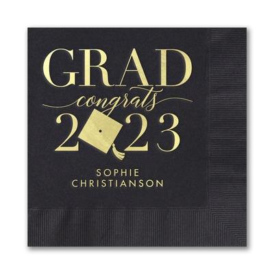 Outstanding Grad Napkin - Black