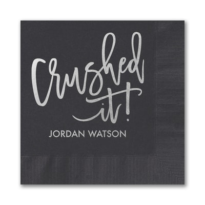 Crushed It Grad Napkin - Black