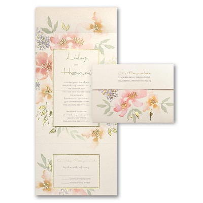 Glowing Floral - Seal 'n Send Invitation