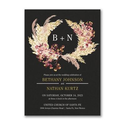 Feathered Wreath Invitation