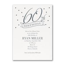 60th Confetti - Birthday Invitation