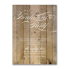 Vintage Woodgrain Love - Bachelorette Party Invitation