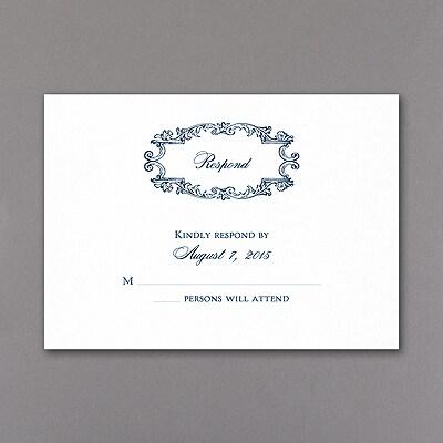 Monogram Swirls - Response Card and Envelope - White