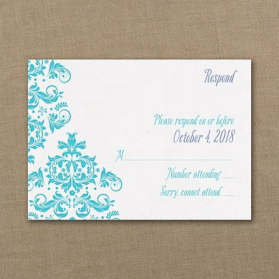 Vibrant Damask - Response Card and Envelope