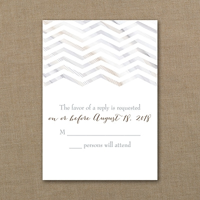 Marbled Chevron - Response Card and Envelope