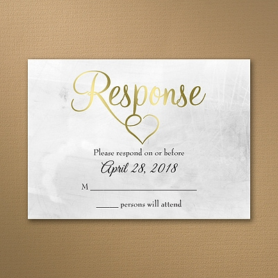 Shiny Love - Gold - Response Card and Envelope