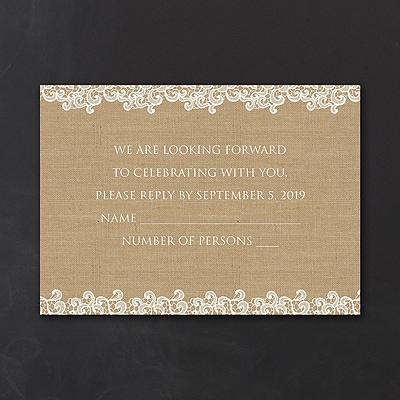Lacy Burlap - Response Card and Envelope