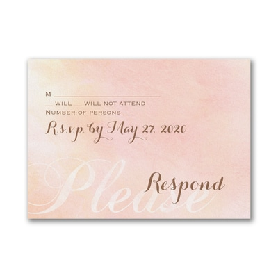 Blushing Watercolor - Response Card and Envelope