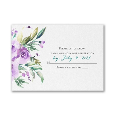 Watercolor Beauty - Purple - Response Card and Envelope