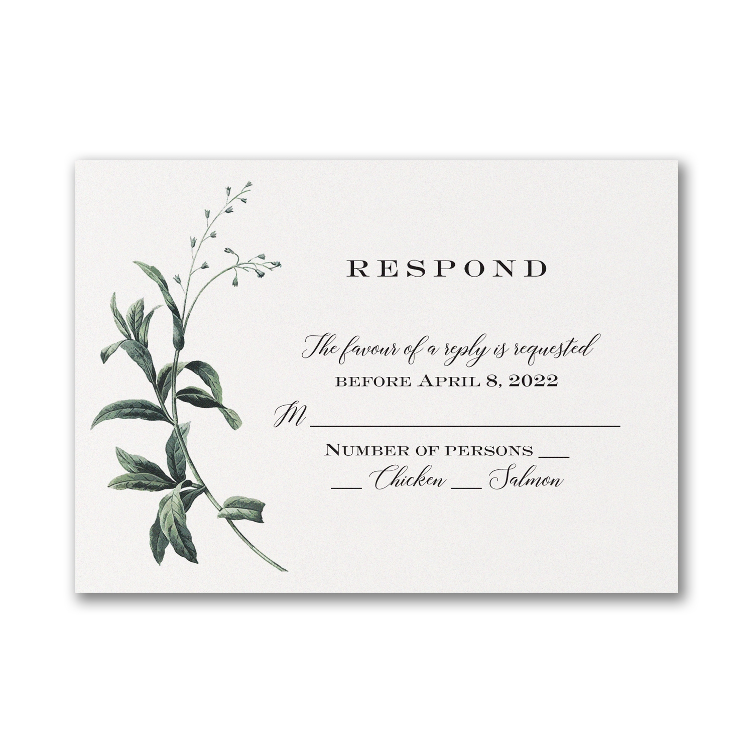 Lovely Greenery Response Card And