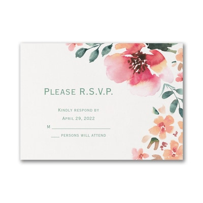 Vibrant Flowers - Response Card and Envelope