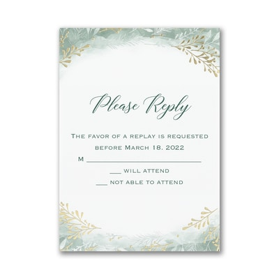 Botanical Greenery - Response Card and Envelope