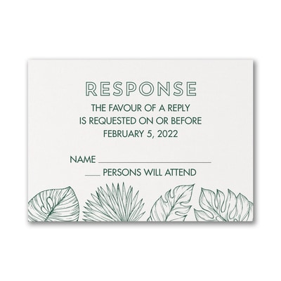 Beach Palms - Response Card and Envelope