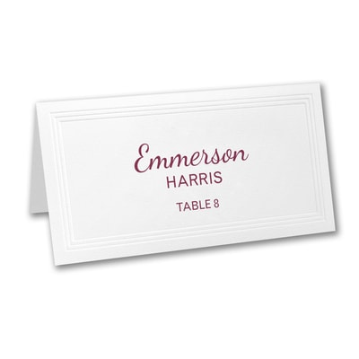 White Triple Panel Place Card - Variable Print