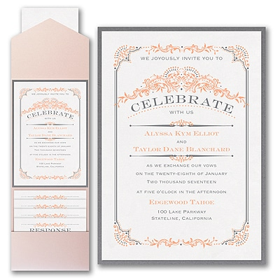 Wedding Day Grandeur - Layered Pocket Invitation