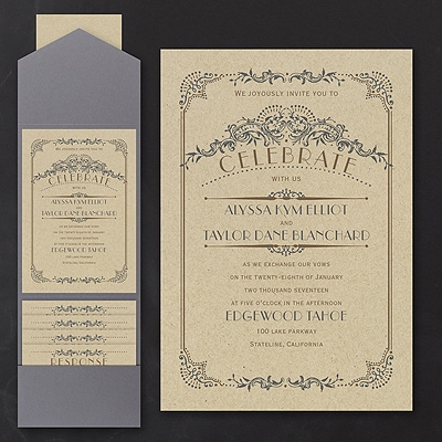 Wedding Day Grandeur - Pocket Invitation